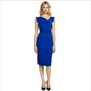 BLACK HALO COLBALT BLUE JACKIE O SHEATH DRESS 10